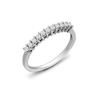Jewelco London Ladies Solid 9ct White Gold 4 Claw Set Round H I1 0.22ct Diamond Dainty 11 Stone Half Eternity Ring 2mm