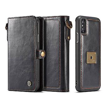 Per iPhone XR Custodia,Custodia in pelle folio staccabile nera,6 slot per schede