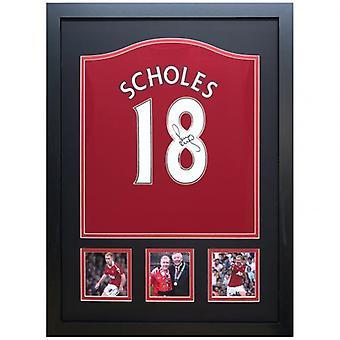 Manchester United Scholes signerad tröja 2017-18 (Inramad)