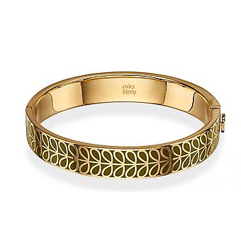 Orla Kiely Gold Plaqué et Green Enamel Stem Bangle