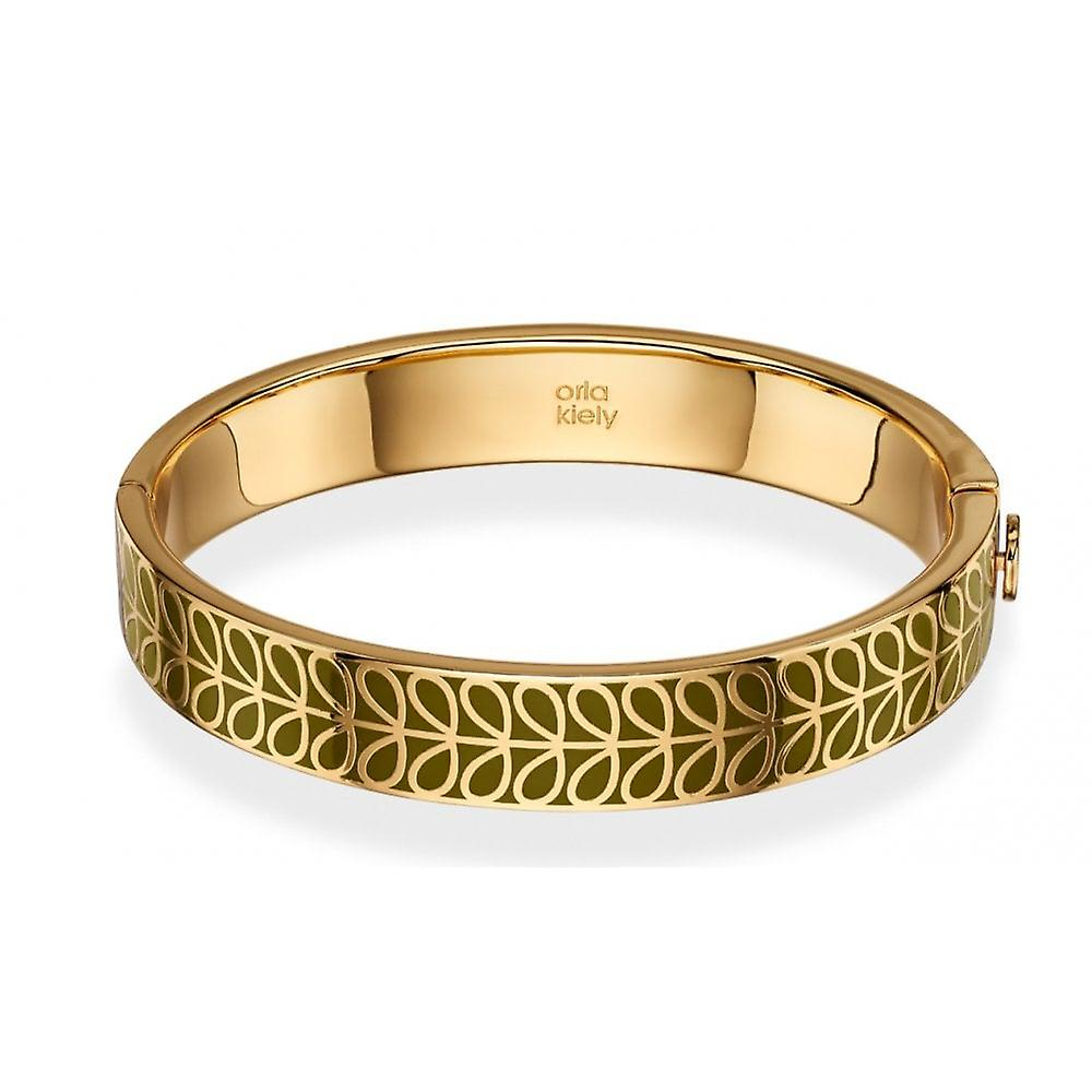 Orla Kiely Gold Plated & Green Enamel Stem Bangle