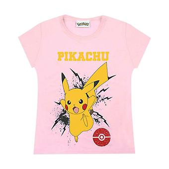 Pokemon Girls T-Shirt Pikachu Bolt Children's Pink Top