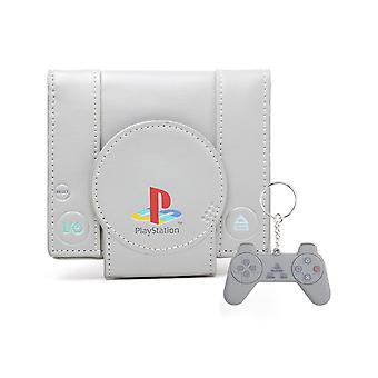 Playstation Peněženka a klíčenky Dárkové set konzole Shaped Retro nový oficiální