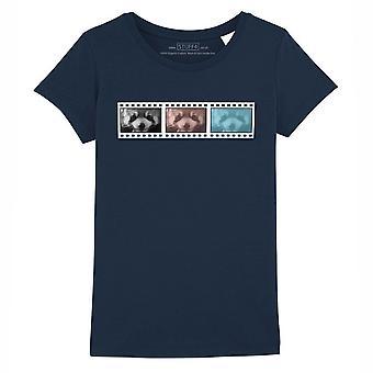 STUFF4 Girl's Round Neck T-Shirt/Film Strip/Animal/Red Panda/Navy Blue