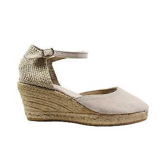 Toni Pons Lloret-5 Stone Suede Leather Womens Wedge Heeled Espadrille Shoes