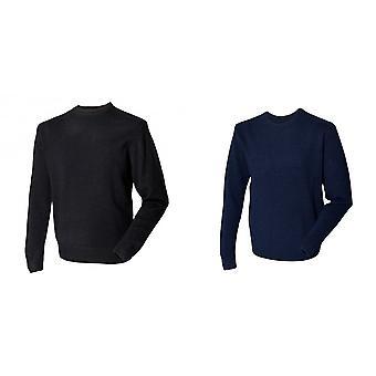 Henbury Herren Rundhals 100 % Lambswool Woolmark® Pullover / Sweatshirt