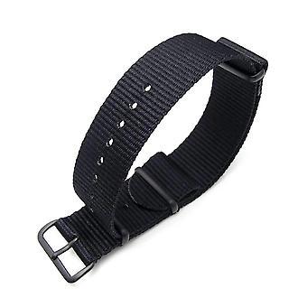 Strapcode n.a.t.o watch strap miltat 18mm or 24mm g10 military watch strap ballistic nylon armband, pvd black - black