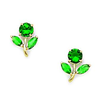 14k Yellow Gold Green CZ Cubic Zirconia Simulated Diamond Flower With Leaves Screw back Earrings Measures 10x8mm Jewelry