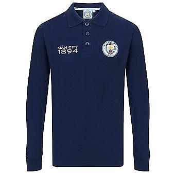Manchester City FC Official Football Gift Boys Long Sleeve Polo Shirt