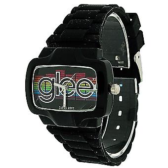 Glee Ladies Analogue Black Rainbow Dial Black Rubber Strap Watch 80145