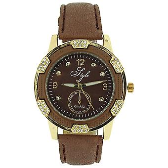 Style Ladies Analogue Clear Stone Set Bezel Brown Dial & PU Strap Watch NSS913