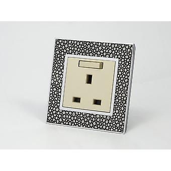 I LumoS AS Luxury Pearl Leather Single Switched Wall Plug 13A UK Sockets