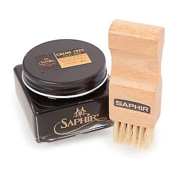 Saphir Light Wood Flat Applicator brush + Saphir MDO Black Cream Polish. Set D