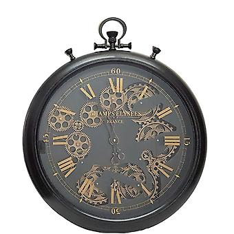 French gear moving cogs wall clock - black