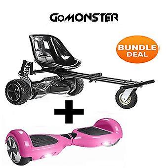 """Carbon Black Monster Hoverkart & 6.5"""" Bluetooth Pink Hoverboard Go Monster Bundle"""