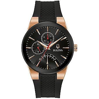 Bulova 97C111 Men's Futuro Black Rubber Strap Wristwatch