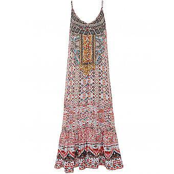 Inoa Aleppo Silk Frill Hem Maxi Dress