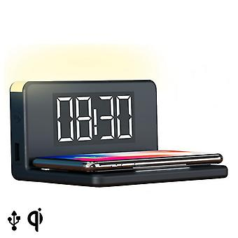 Alarm Clock with Wireless Charger KSIX Qi Black