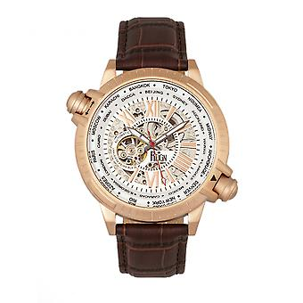 Reign Thanos Automatic Leather-Band Watch - Rose Gold/White