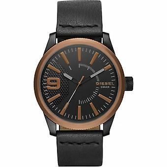 Diesel DZ1841 Rasp Black Leather Analog Quartz Men's Watch
