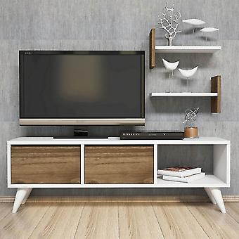 Mobile Foxy White Color TV Halter, Melaminische Spanmutter, PVC 120x30x40 cm, 39.4x16x21.4 cm