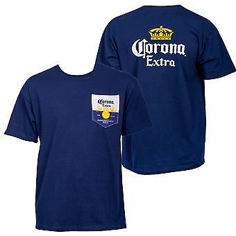 Corona Extra edessä ja takana etiketti pocket t-paita