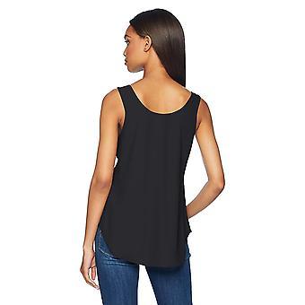 طقوس يومية Women's shirt-tail Scoop-Neck بلا أكمام شل, أسود, 8
