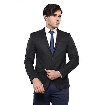 Plaid brown slim fit blazer | wessi