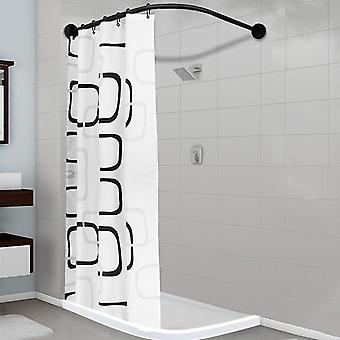 Extendable Corner Black Stainless Steel Shower Curtain Rod Pole With 12 Metal Hooks