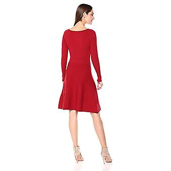 Lark & Ro Women's Long Sleeve Ribbed Crewneck Fit and Flare Sweater Dress, re...