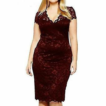 Women's Plus Size Midi V-Neck Floral Lace Bodycon Pencil Party Dress