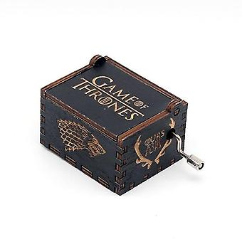 Game Of Thrones Black Wood Hand Crank Vintage Engraved Wooden Music Box - Wedding Valentine Christmas Birthday Musical Gift