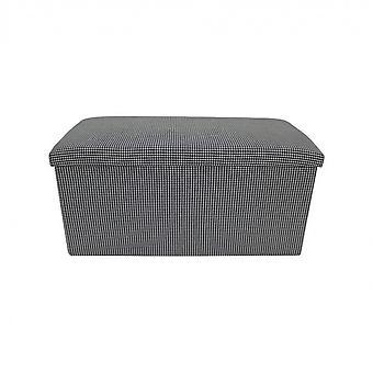 Rebecca Furniture Puff Container Zwart Wit Smurf Baule Fabric Room 38x76x38