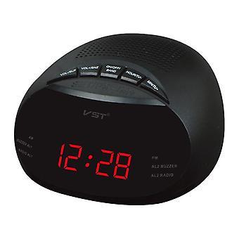 Vst st-8 eu geleide digitale radio wekker met blauw rood groene backlight twee groepen wekker am fm klok radio tafelklok radio