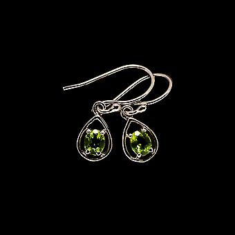 """Peridot Kolczyki 7/8"""" (925 Srebro) - Ręcznie boho vintage biżuteria EARR405109"""