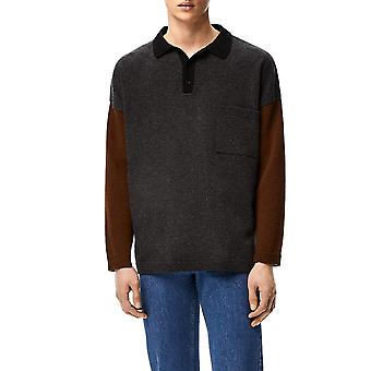 Loewe H526333x841204 Men's Grey Wool Sweater