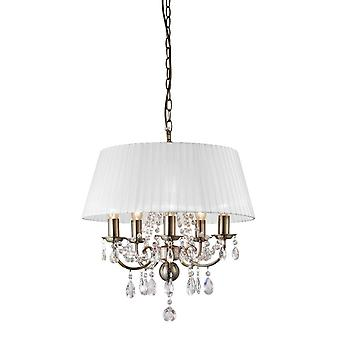 Inspireret Diyas - Olivia - Loft Vedhæng med hvid skygge 5 Lys Antik Messing, Crystal