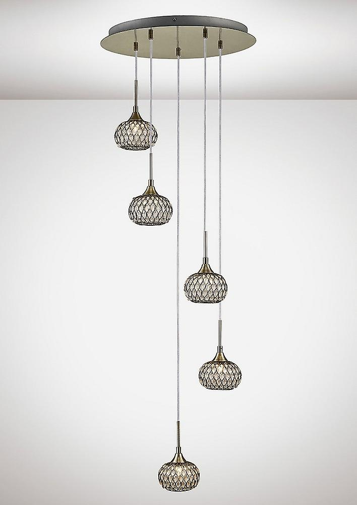 Ceiling Cluster Pendant 5 Light Round Antique Brass, Clear Glass