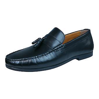 Bürokratie Woodcroft Herren Leder Slip auf Halbschuhe / Schuhe - Schwarz