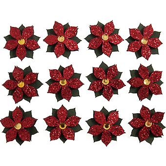 12 Glitter 3cm Christmas Poinsettia Self Adhesive Paper Stickers for Papercrafts