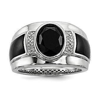 925 Sterling Silver Bezel Gepolijst Prong set Gift Boxed Rhodium vergulde Diamond en gesimuleerde Onyx Mens Ring Sieraden Cadeau