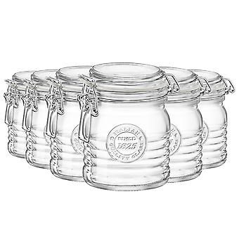 Bormioli Rocco Officina 1825 Glass Storage Jar with Airtight Clip Lid - 350ml - Pack of 6