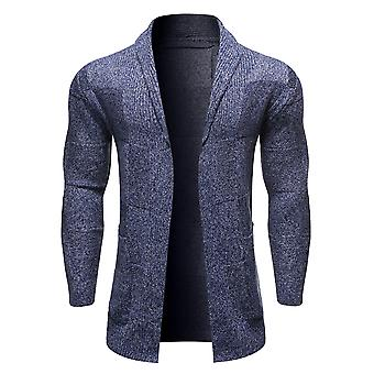 YANGFAN Men's Solid Color Lapel Pullover Cardigan
