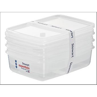 Stewart Essential Rectangular Container 1L x 3 1500008