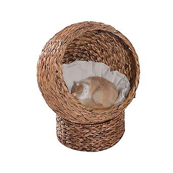 PawHut Woven Banana Leaf Elevated Cat Bed Wicker Kitten Basket Pet Den. House Cozy Cave with Soft Cushion Dome 42x33x52cm Brown