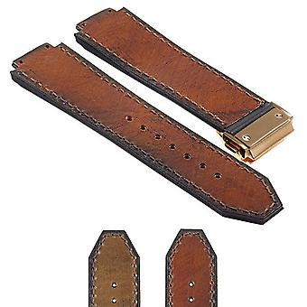 Strapsco vintage-leather-suede-strap-for-hublot-big-bang-with-yellow-gold-clasp