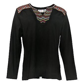 Denim & Co. Women's Top Waffle Long-Sleeve W/ Embroidery Black A379636
