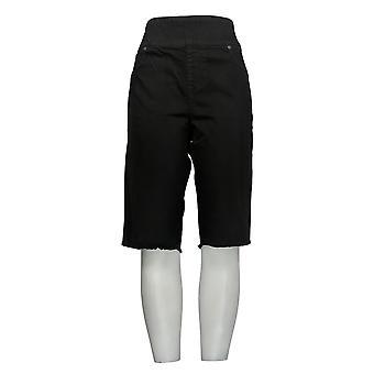 DG2 door Diane Gilman Women's Shorts Black Jean Fringe Hem Cotton 724-452