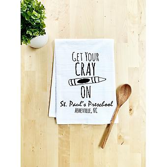 Get Your Cray On St Paul's Preschool Dish Towel