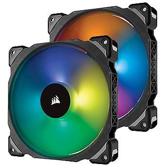 Corsair 140 mm premium lévitation magnétique rgb ventilateur conduit - noir (pack de 2) ml pro 140 mm double pack +